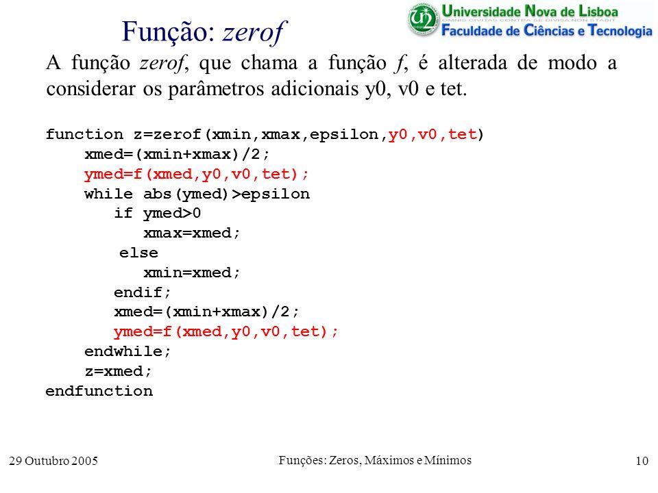 29 Outubro 2005 Funções: Zeros, Máximos e Mínimos 10 Função: zerof A função zerof, que chama a função f, é alterada de modo a considerar os parâmetros