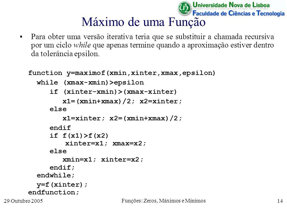 29 Outubro 2005 Funções: Zeros, Máximos e Mínimos 14 Máximo de uma Função Para obter uma versão iterativa teria que se substituir a chamada recursiva