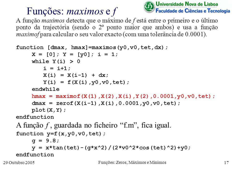 29 Outubro 2005 Funções: Zeros, Máximos e Mínimos 17 Funções: maximos e f A função maximos detecta que o máximo de f está entre o primeiro e o último