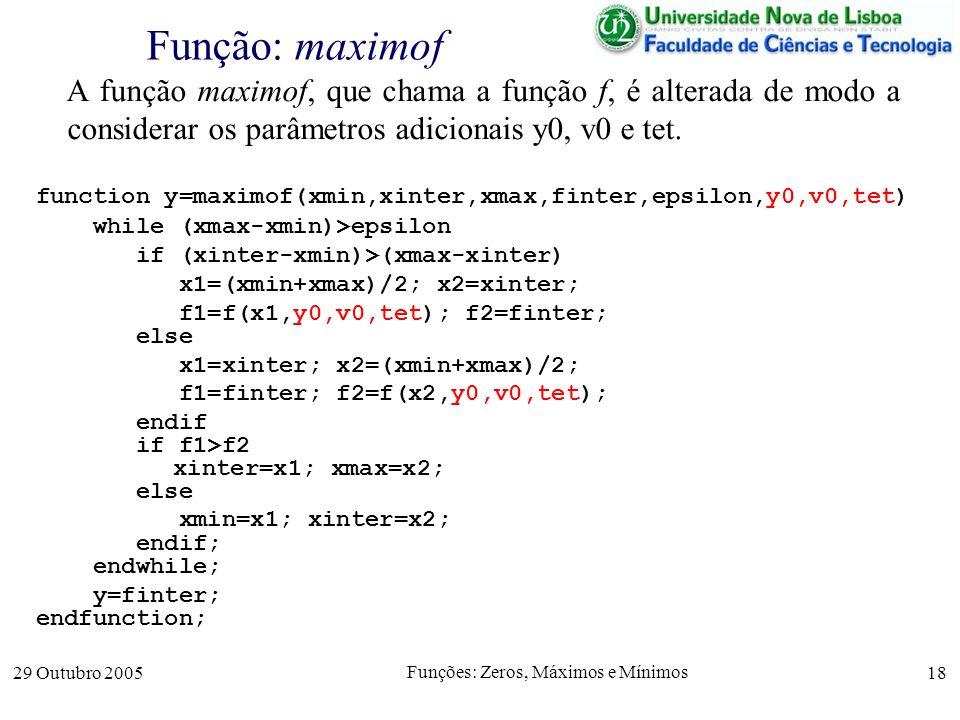 29 Outubro 2005 Funções: Zeros, Máximos e Mínimos 18 Função: maximof A função maximof, que chama a função f, é alterada de modo a considerar os parâme