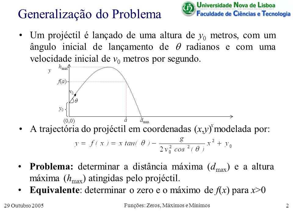29 Outubro 2005 Funções: Zeros, Máximos e Mínimos 2 Generalização do Problema Um projéctil é lançado de uma altura de y 0 metros, com um ângulo inicia