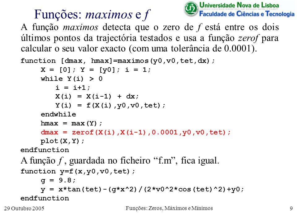 29 Outubro 2005 Funções: Zeros, Máximos e Mínimos 9 Funções: maximos e f A função maximos detecta que o zero de f está entre os dois últimos pontos da