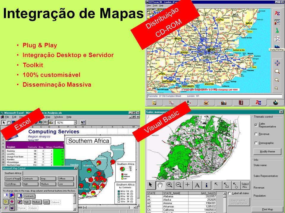 Routing e DriveTime Locator Perfil Demográfico Análise de Dados /Suporte à Decisão Demografia Cartografia de Pequena Escala Equipamentos / Software Genéricos Menos Dispendioso Melhores Ligações a Software Desktop e Servidores Business Mapping