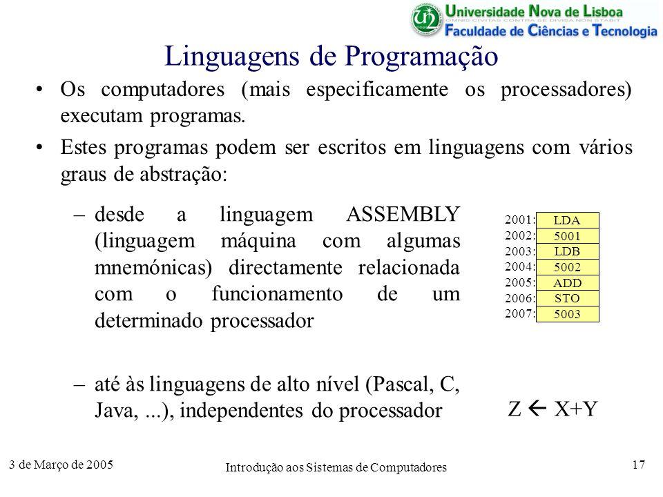3 de Março de 2005 Introdução aos Sistemas de Computadores 17 Linguagens de Programação Os computadores (mais especificamente os processadores) executam programas.