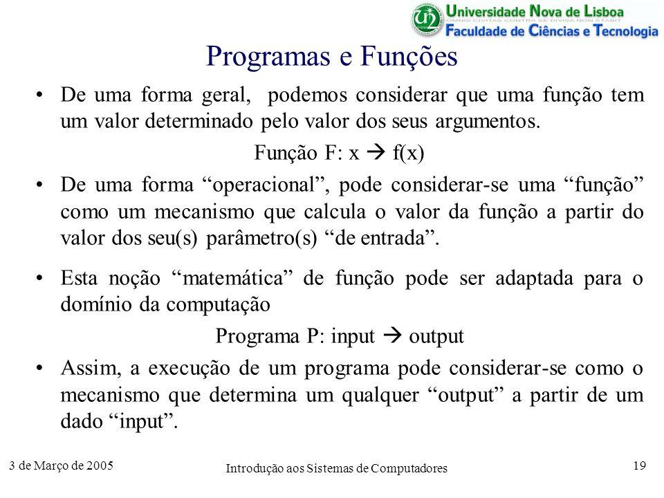 3 de Março de 2005 Introdução aos Sistemas de Computadores 19 Programas e Funções De uma forma geral, podemos considerar que uma função tem um valor determinado pelo valor dos seus argumentos.