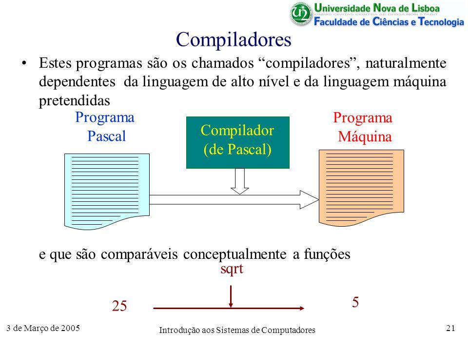 3 de Março de 2005 Introdução aos Sistemas de Computadores 21 Compiladores Estes programas são os chamados compiladores, naturalmente dependentes da linguagem de alto nível e da linguagem máquina pretendidas e que são comparáveis conceptualmente a funções Compilador (de Pascal) Programa Máquina Programa Pascal 25 5 sqrt