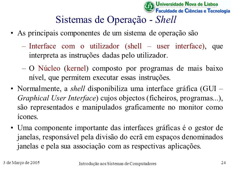 3 de Março de 2005 Introdução aos Sistemas de Computadores 24 Sistemas de Operação - Shell As principais componentes de um sistema de operação são –Interface com o utilizador (shell – user interface), que interpreta as instruções dadas pelo utilizador.
