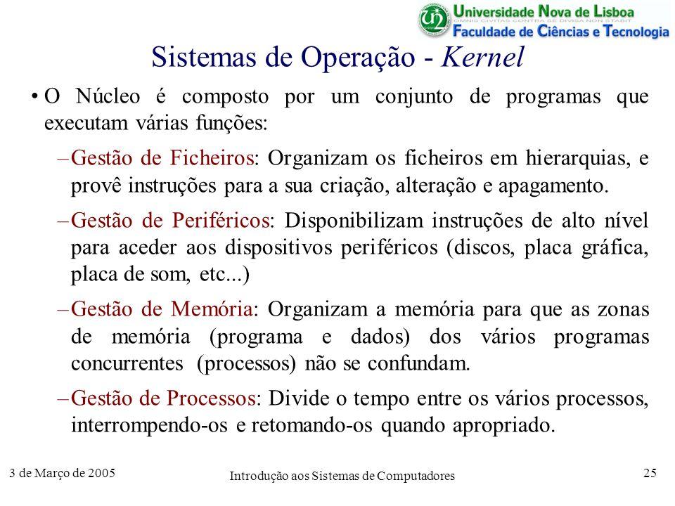 3 de Março de 2005 Introdução aos Sistemas de Computadores 25 Sistemas de Operação - Kernel O Núcleo é composto por um conjunto de programas que executam várias funções: –Gestão de Ficheiros: Organizam os ficheiros em hierarquias, e provê instruções para a sua criação, alteração e apagamento.