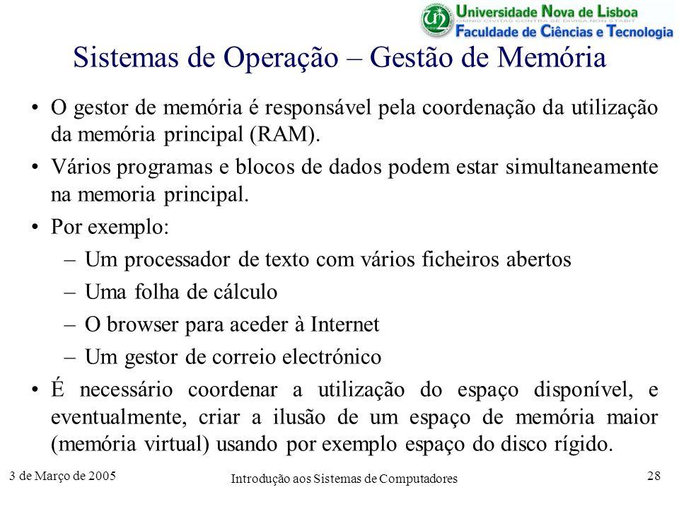 3 de Março de 2005 Introdução aos Sistemas de Computadores 28 Sistemas de Operação – Gestão de Memória O gestor de memória é responsável pela coordenação da utilização da memória principal (RAM).