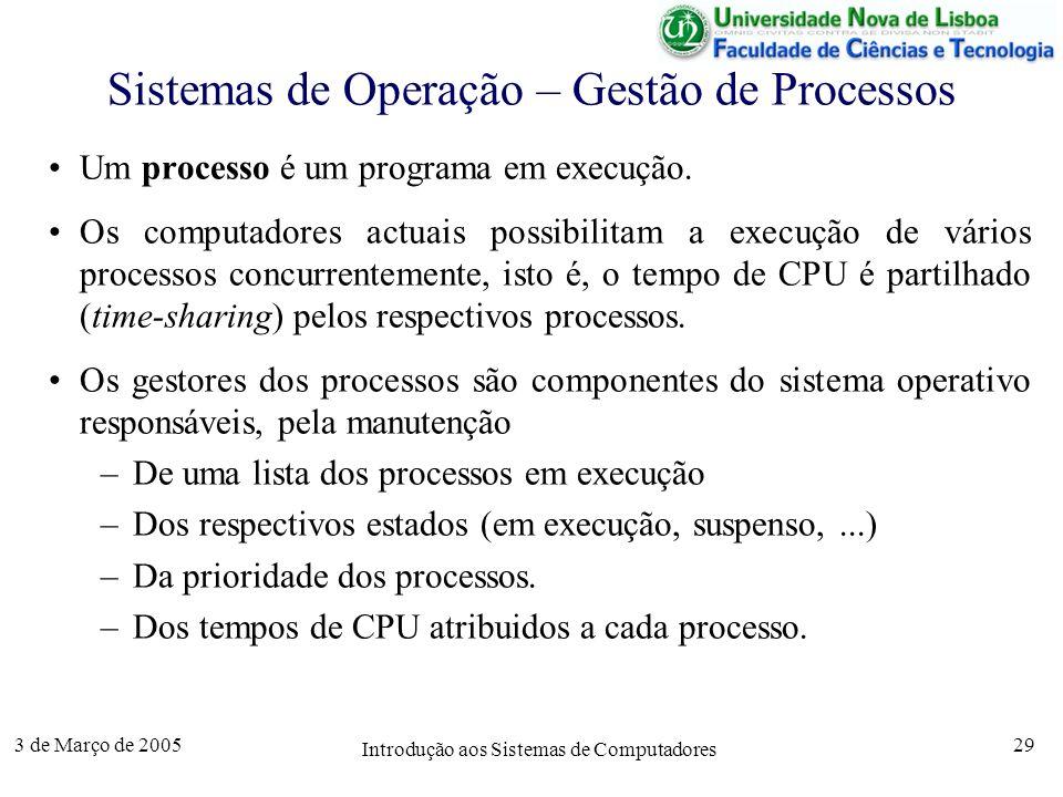 3 de Março de 2005 Introdução aos Sistemas de Computadores 29 Sistemas de Operação – Gestão de Processos Um processo é um programa em execução.