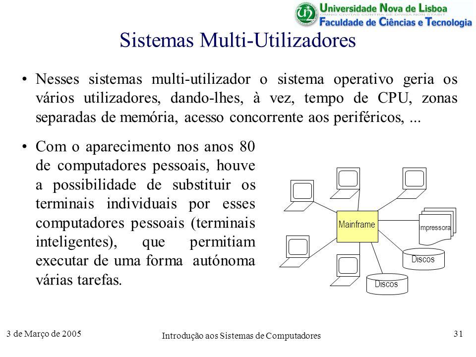 3 de Março de 2005 Introdução aos Sistemas de Computadores 31 Sistemas Multi-Utilizadores Nesses sistemas multi-utilizador o sistema operativo geria os vários utilizadores, dando-lhes, à vez, tempo de CPU, zonas separadas de memória, acesso concorrente aos periféricos,...