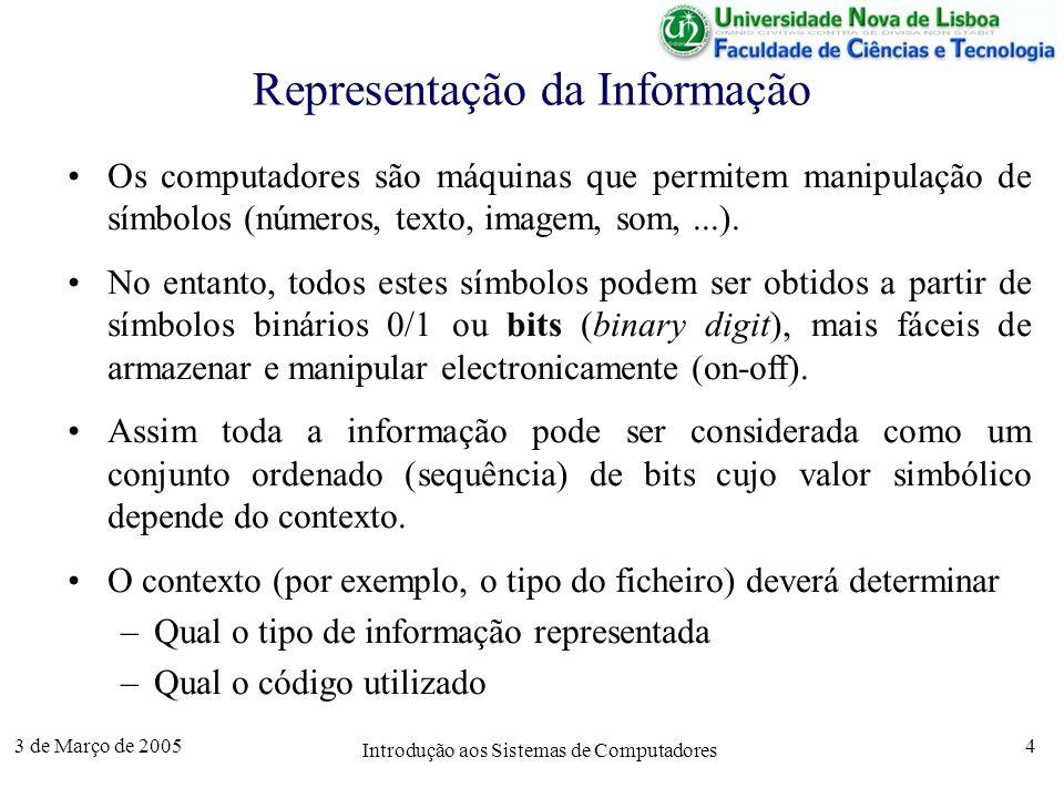 3 de Março de 2005 Introdução aos Sistemas de Computadores 4 Os computadores são máquinas que permitem manipulação de símbolos (números, texto, imagem, som,...).