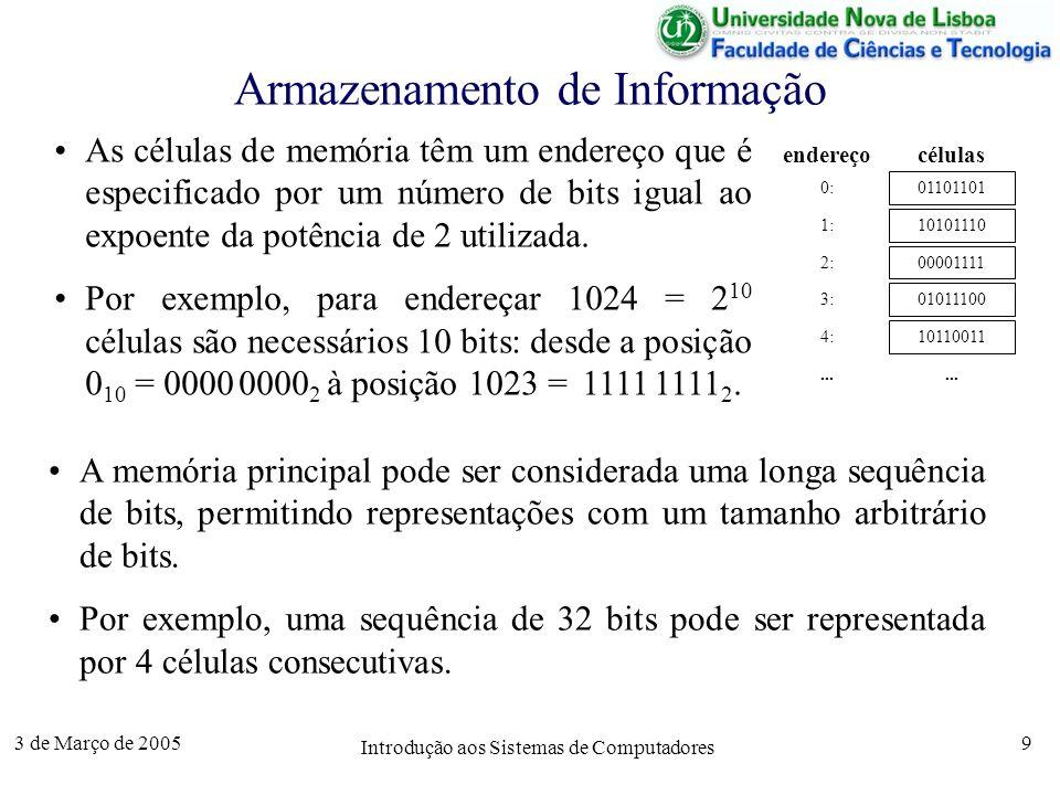 3 de Março de 2005 Introdução aos Sistemas de Computadores 9 Armazenamento de Informação As células de memória têm um endereço que é especificado por um número de bits igual ao expoente da potência de 2 utilizada.