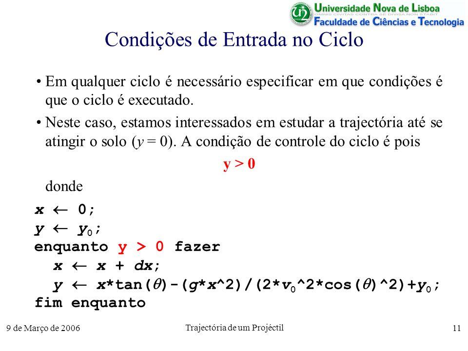 9 de Março de 2006 Trajectória de um Projéctil 11 Condições de Entrada no Ciclo Em qualquer ciclo é necessário especificar em que condições é que o ciclo é executado.