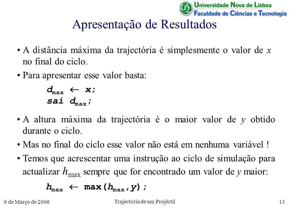 9 de Março de 2006 Trajectória de um Projéctil 13 Apresentação de Resultados A distância máxima da trajectória é simplesmente o valor de x no final do ciclo.