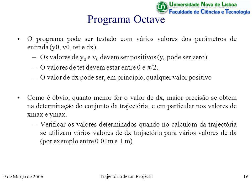 9 de Março de 2006 Trajectória de um Projéctil 16 Programa Octave O programa pode ser testado com vários valores dos parâmetros de entrada (y0, v0, tet e dx).