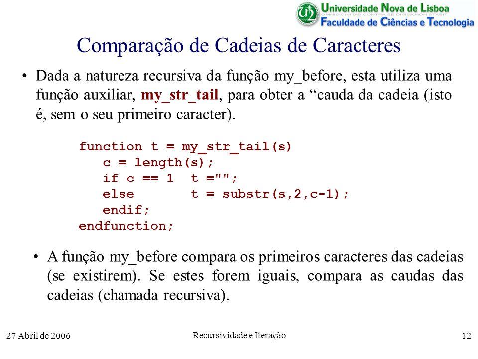 27 Abril de 2006 Recursividade e Iteração 12 Comparação de Cadeias de Caracteres function t = my_str_tail(s) c = length(s); if c == 1 t = ; else t = substr(s,2,c-1); endif; endfunction; Dada a natureza recursiva da função my_before, esta utiliza uma função auxiliar, my_str_tail, para obter a cauda da cadeia (isto é, sem o seu primeiro caracter).