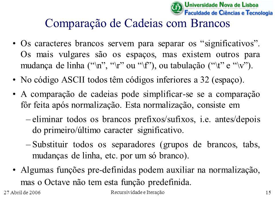 27 Abril de 2006 Recursividade e Iteração 15 Comparação de Cadeias com Brancos Os caracteres brancos servem para separar os significativos.