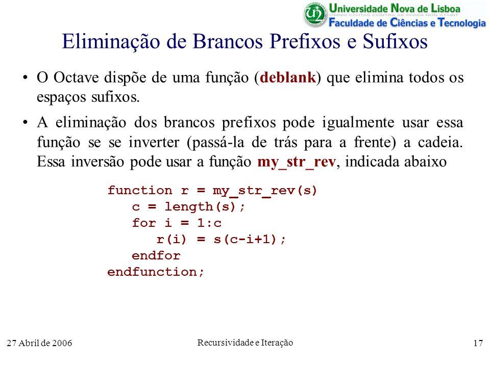 27 Abril de 2006 Recursividade e Iteração 17 Eliminação de Brancos Prefixos e Sufixos O Octave dispõe de uma função (deblank) que elimina todos os espaços sufixos.