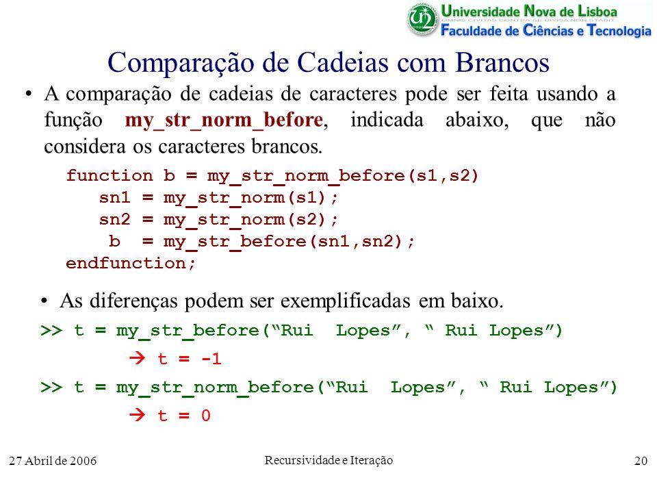 27 Abril de 2006 Recursividade e Iteração 20 Comparação de Cadeias com Brancos function b = my_str_norm_before(s1,s2) sn1 = my_str_norm(s1); sn2 = my_str_norm(s2); b = my_str_before(sn1,sn2); endfunction; A comparação de cadeias de caracteres pode ser feita usando a função my_str_norm_before, indicada abaixo, que não considera os caracteres brancos.