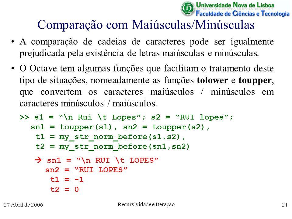 27 Abril de 2006 Recursividade e Iteração 21 Comparação com Maiúsculas/Minúsculas A comparação de cadeias de caracteres pode ser igualmente prejudicada pela existência de letras maiúsculas e minúsculas.