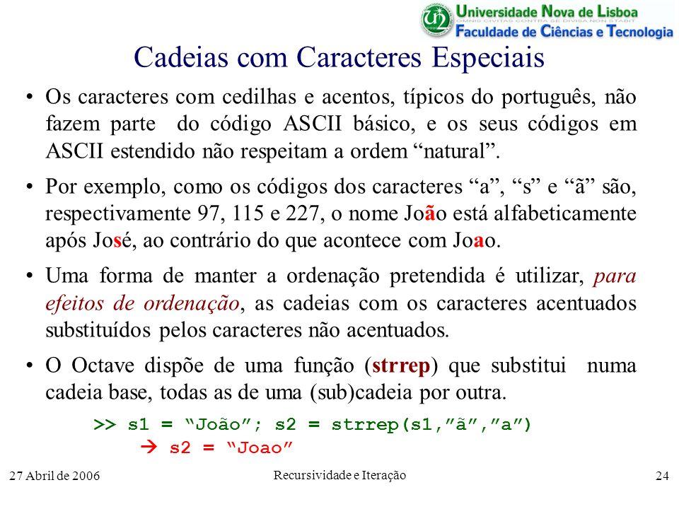 27 Abril de 2006 Recursividade e Iteração 24 Cadeias com Caracteres Especiais Os caracteres com cedilhas e acentos, típicos do português, não fazem parte do código ASCII básico, e os seus códigos em ASCII estendido não respeitam a ordem natural.