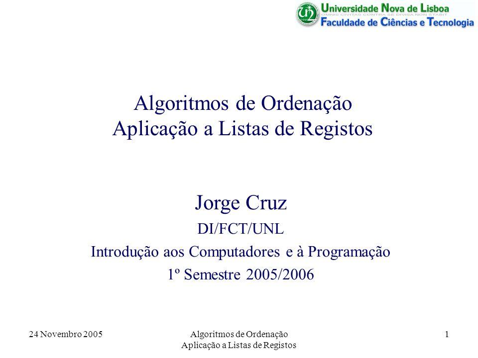 24 Novembro 2005Algoritmos de Ordenação Aplicação a Listas de Registos 1 Jorge Cruz DI/FCT/UNL Introdução aos Computadores e à Programação 1º Semestre