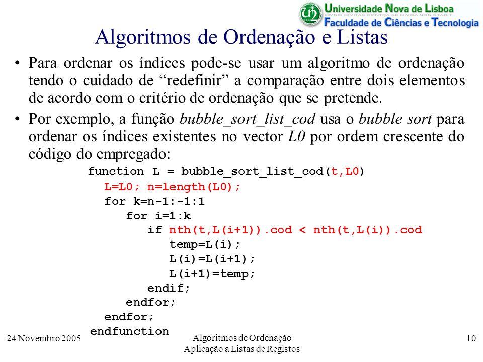 24 Novembro 2005 Algoritmos de Ordenação Aplicação a Listas de Registos 10 Algoritmos de Ordenação e Listas Para ordenar os índices pode-se usar um al