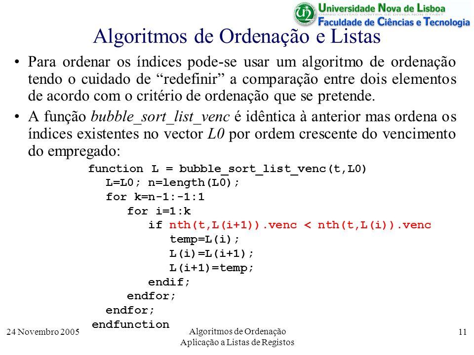 24 Novembro 2005 Algoritmos de Ordenação Aplicação a Listas de Registos 11 Algoritmos de Ordenação e Listas Para ordenar os índices pode-se usar um al