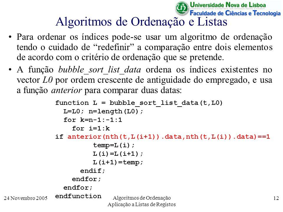 24 Novembro 2005 Algoritmos de Ordenação Aplicação a Listas de Registos 12 Algoritmos de Ordenação e Listas Para ordenar os índices pode-se usar um al