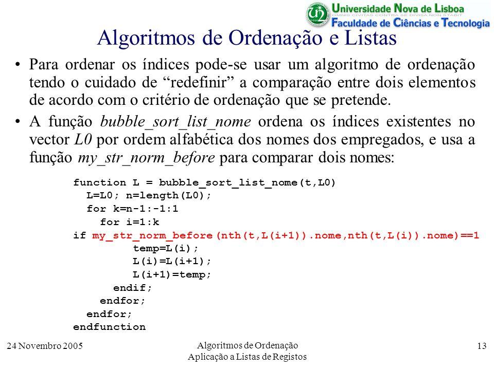 24 Novembro 2005 Algoritmos de Ordenação Aplicação a Listas de Registos 13 Algoritmos de Ordenação e Listas Para ordenar os índices pode-se usar um al