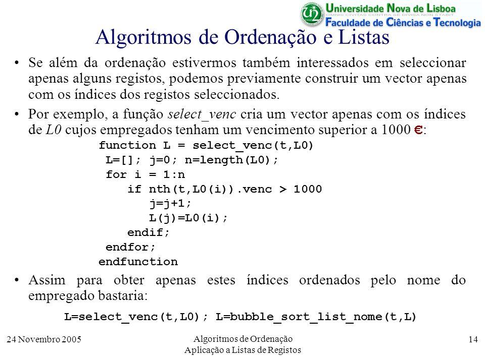 24 Novembro 2005 Algoritmos de Ordenação Aplicação a Listas de Registos 14 Algoritmos de Ordenação e Listas Se além da ordenação estivermos também int