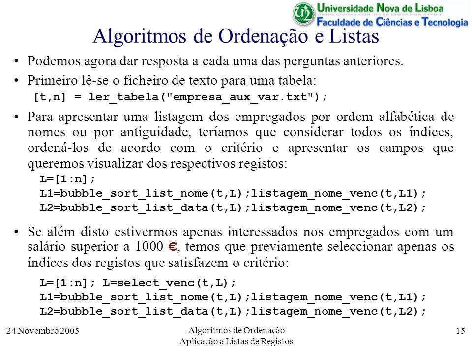 24 Novembro 2005 Algoritmos de Ordenação Aplicação a Listas de Registos 15 Algoritmos de Ordenação e Listas Podemos agora dar resposta a cada uma das