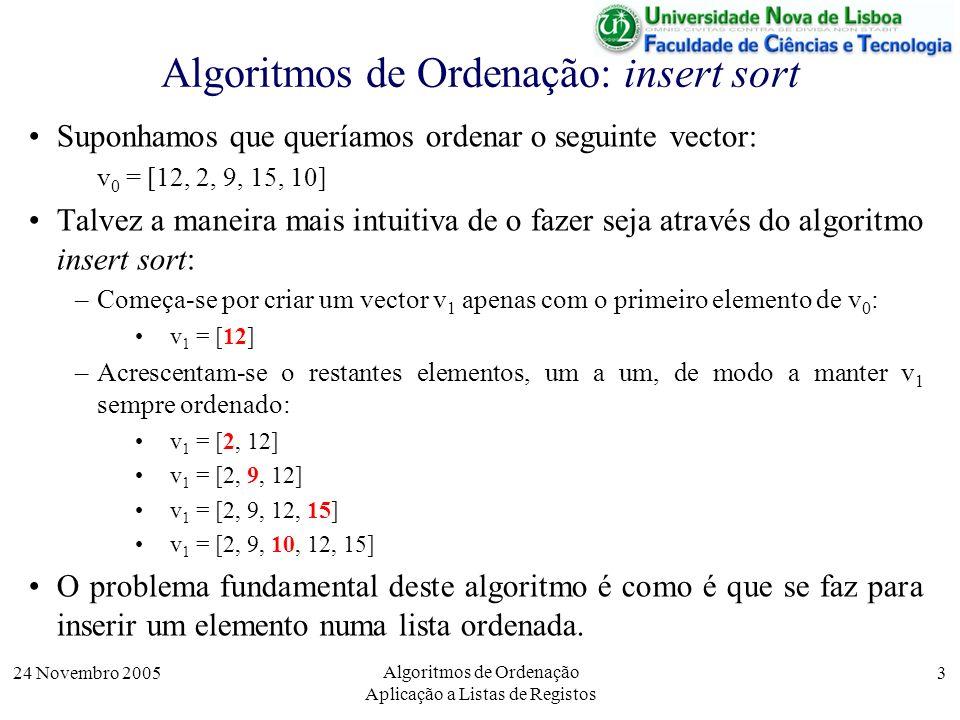 24 Novembro 2005 Algoritmos de Ordenação Aplicação a Listas de Registos 3 Algoritmos de Ordenação: insert sort Suponhamos que queríamos ordenar o segu