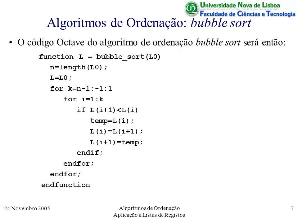 24 Novembro 2005 Algoritmos de Ordenação Aplicação a Listas de Registos 7 Algoritmos de Ordenação: bubble sort O código Octave do algoritmo de ordenaç