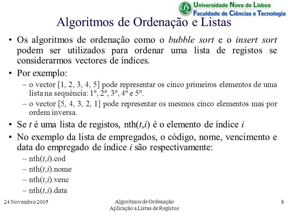 24 Novembro 2005 Algoritmos de Ordenação Aplicação a Listas de Registos 8 Algoritmos de Ordenação e Listas Os algoritmos de ordenação como o bubble so
