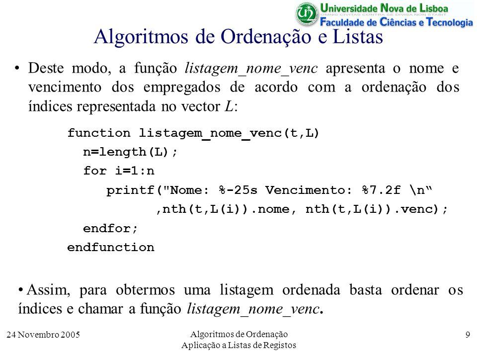 24 Novembro 2005 Algoritmos de Ordenação Aplicação a Listas de Registos 9 Algoritmos de Ordenação e Listas Deste modo, a função listagem_nome_venc apr