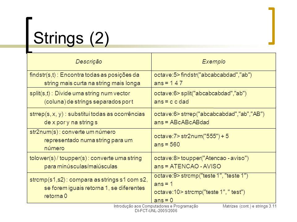 Introdução aos Computadores e Programação DI-FCT-UNL-2005/2006 Matrizes (cont.) e strings 3.11 Strings (2) octave:9> strcmp( teste 1 , teste 1 ) ans = 1 octave:10> strcmp( teste 1 , test ) ans = 0 strcmp(s1,s2) : compara as strings s1 com s2, se forem iguais retorna 1, se diferentes retorna 0 octave:8> toupper( Atencao - aviso ) ans = ATENCAO - AVISO tolower(s) / toupper(s) : converte uma string para minúsculas/maiúsculas octave:7> str2num( 555 ) + 5 ans = 560 str2num(s) : converte um número representado numa string para um número octave:6> strrep( abcabcabdad , ab , AB ) ans = ABcABcABdad strrep(s, x, y) : substitui todas as ocorrências de x por y na string s octave:6> split( abcabcabdad , ab ) ans = c c dad split(s,t) : Divide uma string num vector (coluna) de strings separados por t octave:5> findstr( abcabcabdad , ab ) ans = 1 4 7 findstr(s,t) : Encontra todas as posições da string mais curta na string mais longa ExemploDescrição
