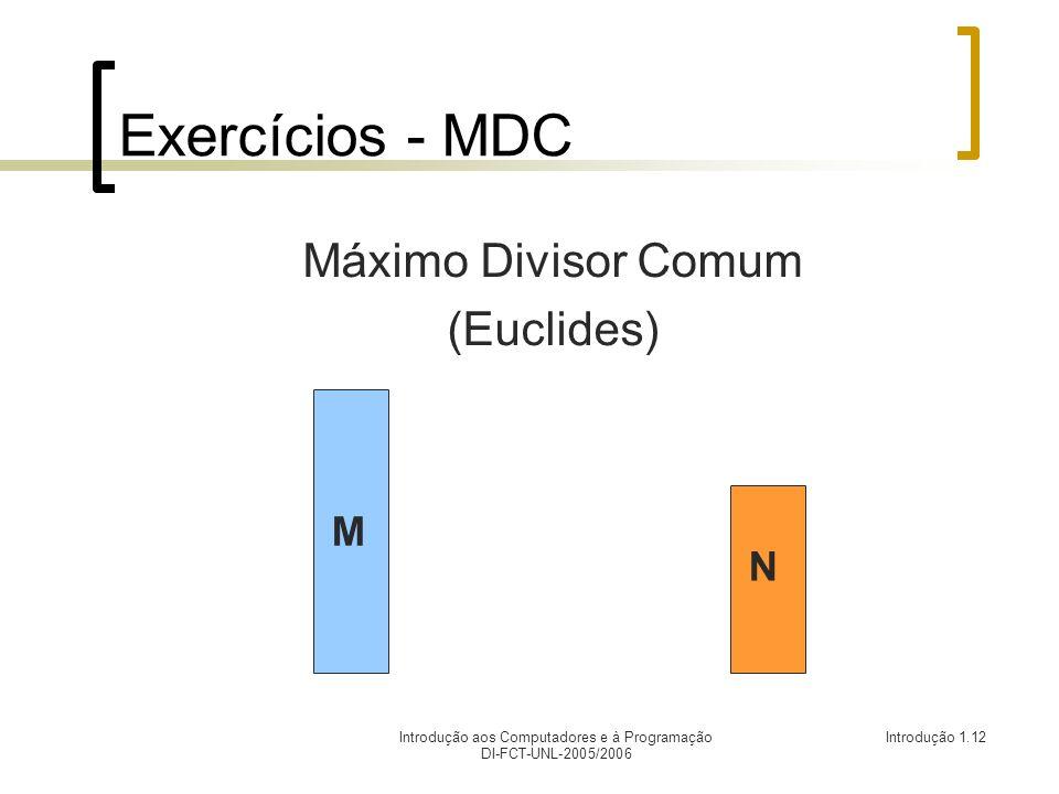 Introdução aos Computadores e à Programação DI-FCT-UNL-2005/2006 Introdução 1.12 Exercícios - MDC Máximo Divisor Comum (Euclides) M N