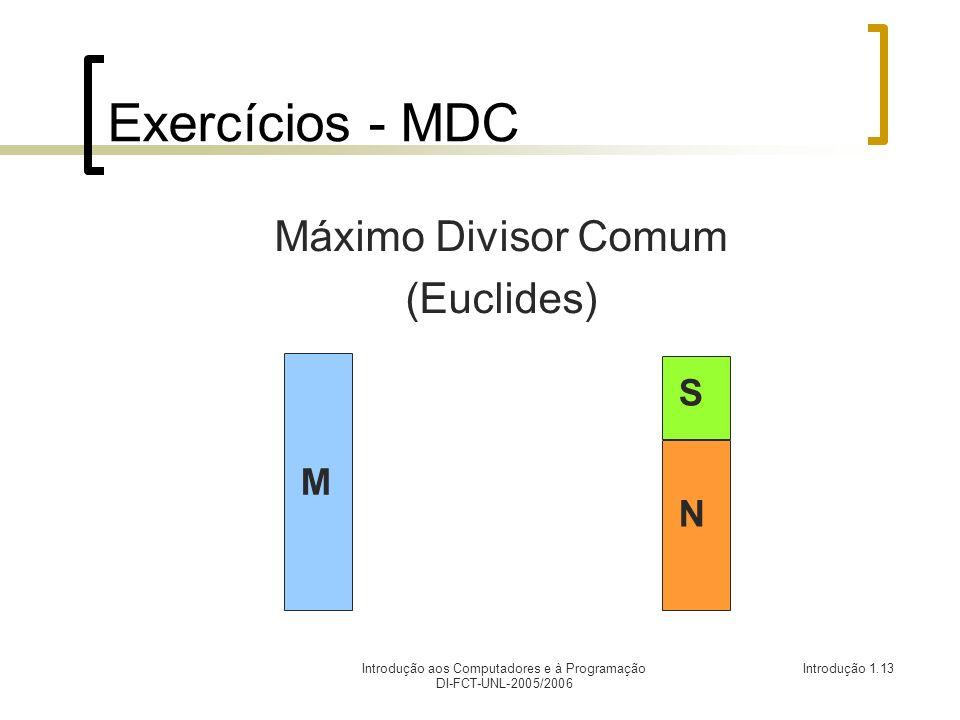 Introdução aos Computadores e à Programação DI-FCT-UNL-2005/2006 Introdução 1.13 Exercícios - MDC Máximo Divisor Comum (Euclides) M N S