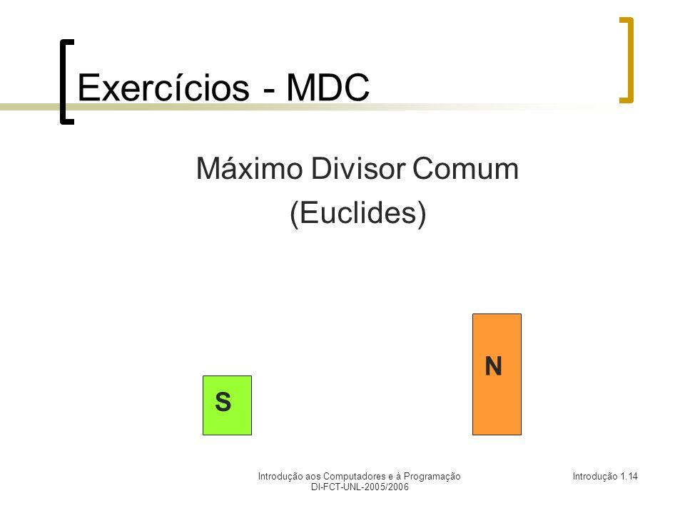 Introdução aos Computadores e à Programação DI-FCT-UNL-2005/2006 Introdução 1.14 Exercícios - MDC Máximo Divisor Comum (Euclides) N S