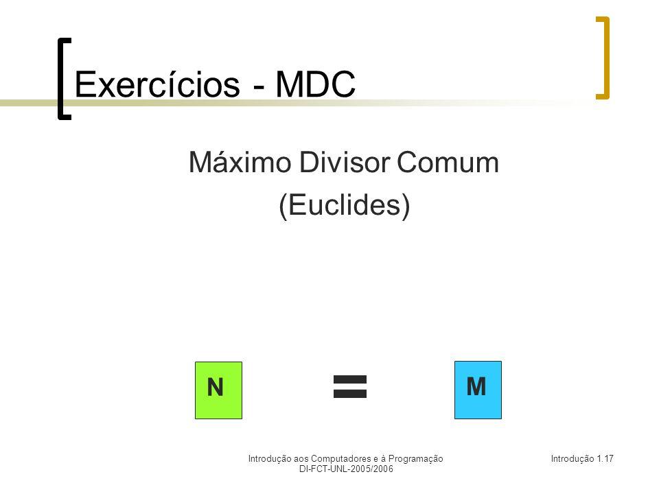 Introdução aos Computadores e à Programação DI-FCT-UNL-2005/2006 Introdução 1.17 Exercícios - MDC Máximo Divisor Comum (Euclides) N M =