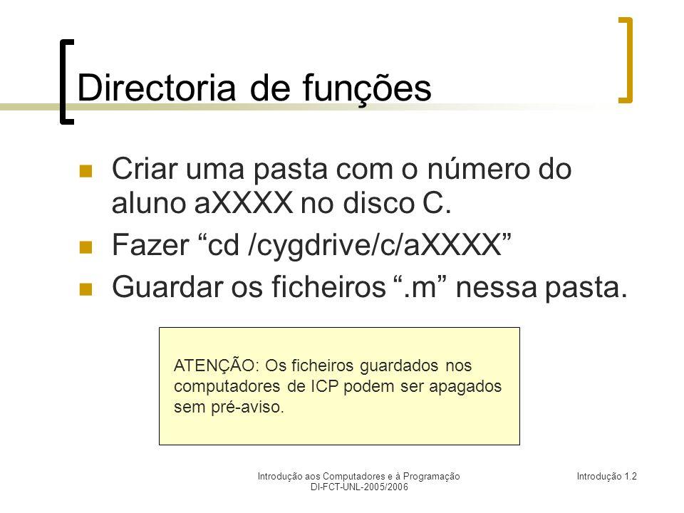 Introdução aos Computadores e à Programação DI-FCT-UNL-2005/2006 Introdução 1.2 Directoria de funções Criar uma pasta com o número do aluno aXXXX no disco C.