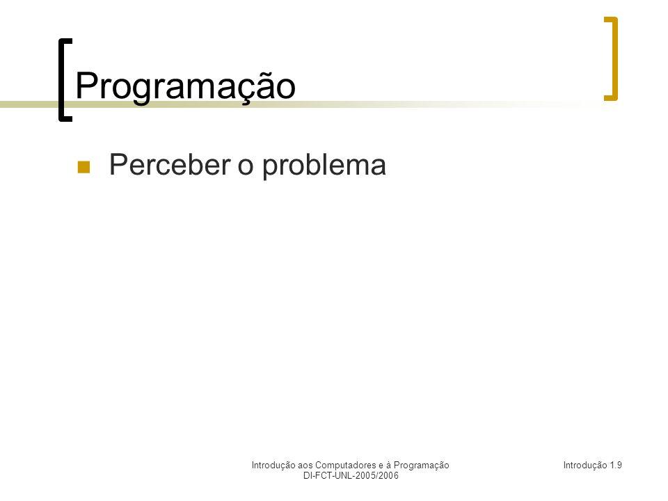 Introdução aos Computadores e à Programação DI-FCT-UNL-2005/2006 Introdução 1.10 Programação Perceber o problema Identificar tarefas
