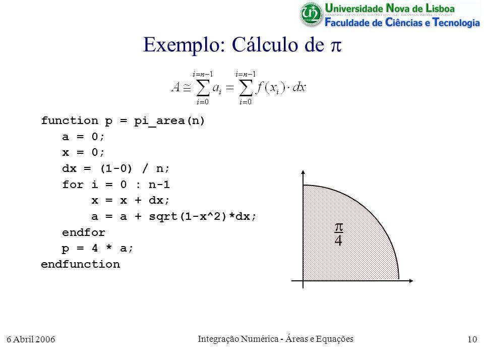 6 Abril 2006 Integração Numérica - Áreas e Equações 10 Exemplo: Cálculo de function p = pi_area(n) a = 0; x = 0; dx = (1-0) / n; for i = 0 : n-1 x = x + dx; a = a + sqrt(1-x^2)*dx; endfor p = 4 * a; endfunction 4