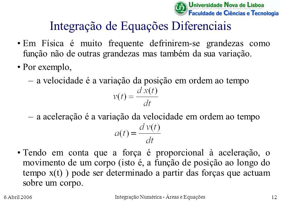 6 Abril 2006 Integração Numérica - Áreas e Equações 12 Integração de Equações Diferenciais Em Física é muito frequente defrinirem-se grandezas como função não de outras grandezas mas também da sua variação.
