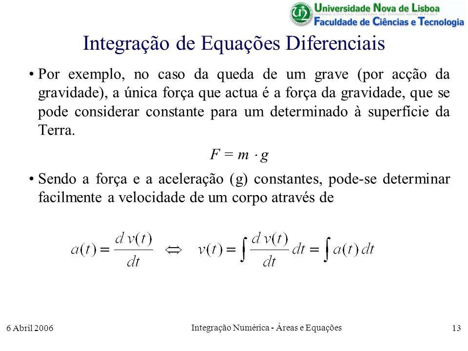 6 Abril 2006 Integração Numérica - Áreas e Equações 13 Integração de Equações Diferenciais Por exemplo, no caso da queda de um grave (por acção da gravidade), a única força que actua é a força da gravidade, que se pode considerar constante para um determinado à superfície da Terra.