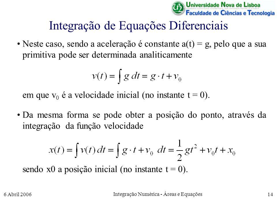 6 Abril 2006 Integração Numérica - Áreas e Equações 14 Integração de Equações Diferenciais Neste caso, sendo a aceleração é constante a(t) = g, pelo que a sua primitiva pode ser determinada analiticamente em que v 0 é a velocidade inicial (no instante t = 0).