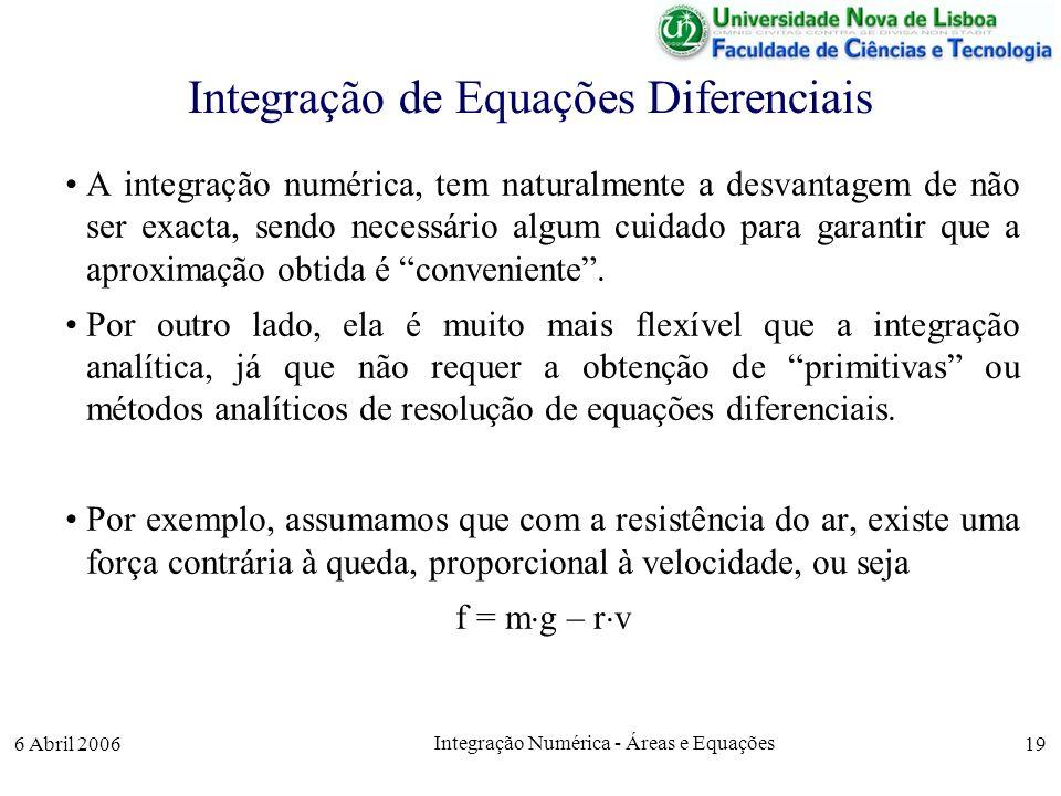6 Abril 2006 Integração Numérica - Áreas e Equações 19 Integração de Equações Diferenciais A integração numérica, tem naturalmente a desvantagem de não ser exacta, sendo necessário algum cuidado para garantir que a aproximação obtida é conveniente.