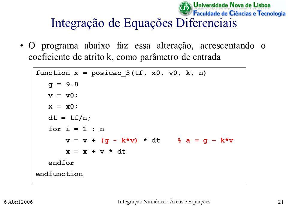 6 Abril 2006 Integração Numérica - Áreas e Equações 21 Integração de Equações Diferenciais O programa abaixo faz essa alteração, acrescentando o coeficiente de atrito k, como parâmetro de entrada function x = posicao_3(tf, x0, v0, k, n) g = 9.8 v = v0; x = x0; dt = tf/n; for i = 1 : n v = v + (g - k*v) * dt % a = g – k*v x = x + v * dt endfor endfunction